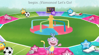 The site's gameboard makes it easy for kids to access activities.