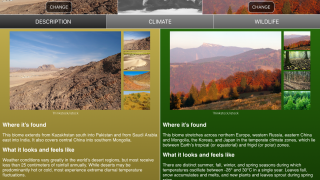 Comparisons of two biomes show photos of typical features.