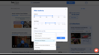 Filter search results by duration, age range, and subject area.