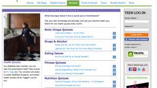 Teens test their knowledge about health issues in the Quizzes section.