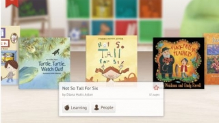 Beautiful cover illustrations and book information help kids choose.