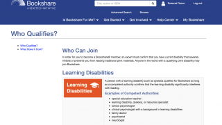 Check the Is Bookshare for Me? drop-down menu to see which learners qualify for Bookshare's services.