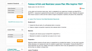 The site's lesson plans support cross-curricular study.