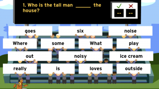 Interactive games like this one teach grammar and vocabulary.