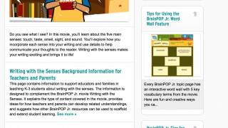 Topics also link to an educators' site with lesson plan ideas and additional support.