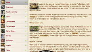 A-Z list of snakes is searchable and informative.