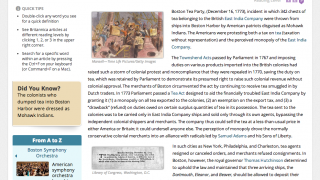 An article at the highest reading level analyzes the Boston Tea Party.