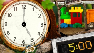 In the time-telling game, kids adjust the analog clock to match the time on the digital clock.
