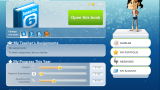 Student Home page gives kids an at-a-glance view of their progress by topic plus access to all lessons, messages, personal profile, and the BuzzLab.