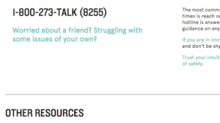 Users can also find information about teen helplines on the site.