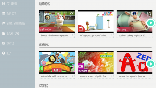 The website boasts a large video library with cartoons, stories, songs, and more.