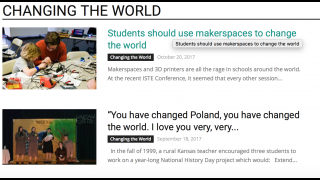 The Changing the World section has inspiring articles, but only seven of them.