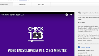Vid Your Text Chrome extension finds Check123 videos that support text from any website.
