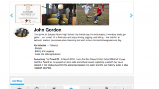 A student profile includes a place for students to write about themselves, upload profile images, and list achievements.