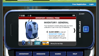 The cell phone-like interface allows kids to review their inventory.