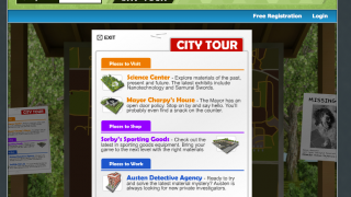 Clickable signs show kids all types of information, like clues and advice.