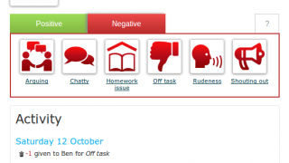 By clicking on a student avatar, teachers can award behavior points, take points away, or add notes about the student.