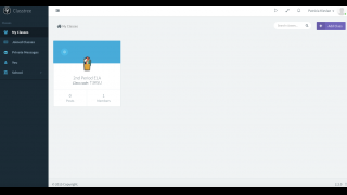 The in-app dashboard lets you see the classes you've created and choose how to send or view messages.