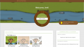CodeMonkey's dashboard allows access to activities, lesson plans, tutorials, and more.