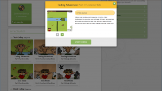 Short instructions lead off each coding level, and students can preview content.