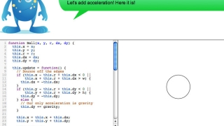 Making animation with velocity and acceleration: you can't see it in this pic, but the circle is bouncing!