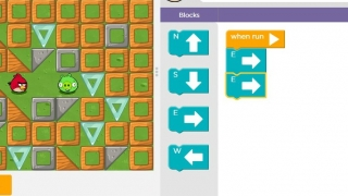 In this introductory lesson, students move the Angry Birds character to the Bad Piggie.