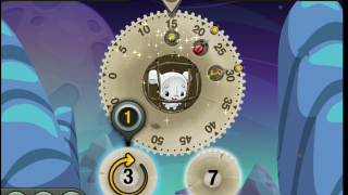 Turn the small gears to move the large gear.