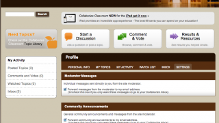 The teacher dashboard includes profile information, an inbox for messaging, and a settings link.