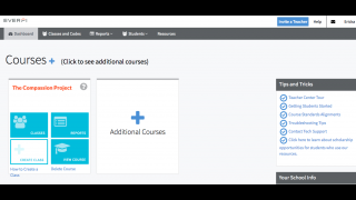 The teacher dashboard allows you to manage classes and students, and see their grades.