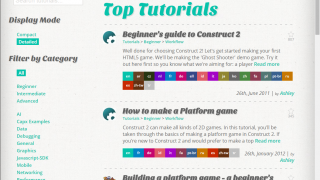 The online community around Construct 2 is robust, including many user-created tutorials.
