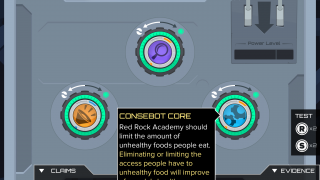 "The game offers built-in tutorials for assembling argubot ""cores,"" which consist of a claim and a supporting piece of evidence."