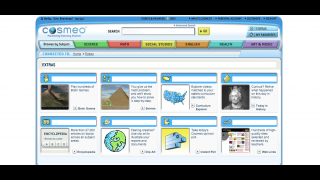Cosmeo's extras include more than 27,000 articles, links to educator-approved websites, math instruction, and clip art.