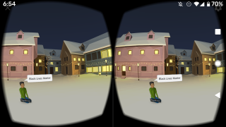Choosing the headset view allows you to use a Google Cardboard or other phone-VR headset to view a CoSpace in VR.
