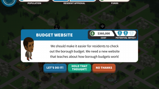 Players decide whether a resident's request is good or bad and within budget.