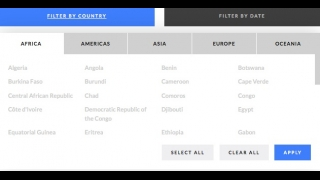 Countries can be searched by region.
