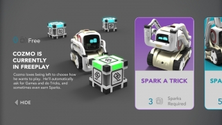 "Earn and spend ""sparks"" when you give Cozmo challenges."