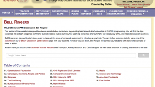 The Bell Ringers section includes videos and conversation starters for the classroom.
