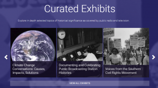 Curated exhbits highlight civil rights, climate change, and public broadcasts.