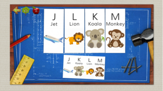 A look at the puzzle game in Joe's area: Kids drag the pieces to match the example at the bottom.