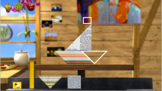 The shapes game in Pablo's art studio is a drag-and-drop puzzle with a bonus option of decorating completed puzzles with graphics and saving them.