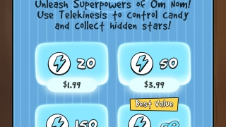 Watch out for the many in-app purchases, like this one offering super powers that make completing levels easier.