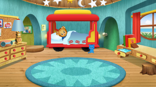 Look around Daniel's bedroom and help him go to sleep.