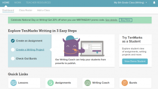The teacher dashboard provides access to student progress and assignments.