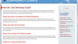Democracy Corps combines in-class activities with instructions for engaging in the community.