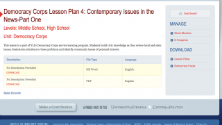 Lesson plans for middle school and high school are available for download once teachers create a free log-in.