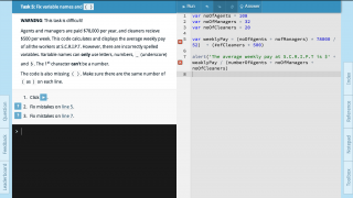 Here's an example view of a JavaScript lesson.