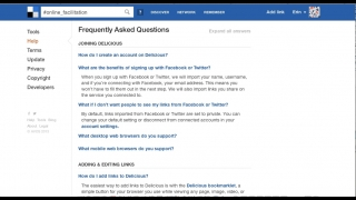 The site's Help section FAQ is essentially the only set of detailed instructions or guidance available on Delicious.