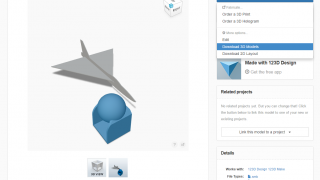 Export options for design projects on the 123D website