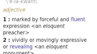 "Entry for ""eloquent"" showing part of speech, pronunciation, and definitions, as well as an audio pronunciation button and favorites star."