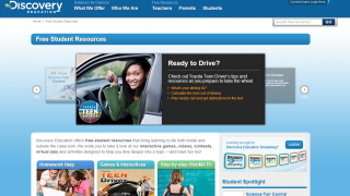 Discovery Education Free Student Resources features games and homework help.